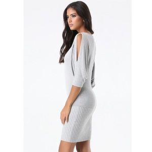 Bebe Sexy Grey Pointelle Cut Out Sweater Dress